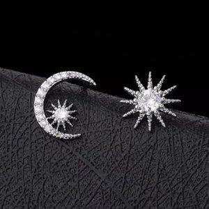 NEW 925 Sterling Silver Diamond Moon Star Earrings